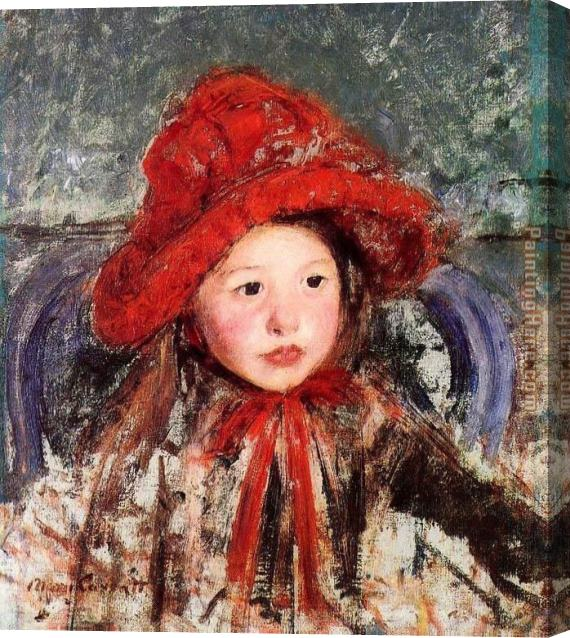 Mary Cassatt Little Girl In A Large Red Hat Stretched Canvas Painting
