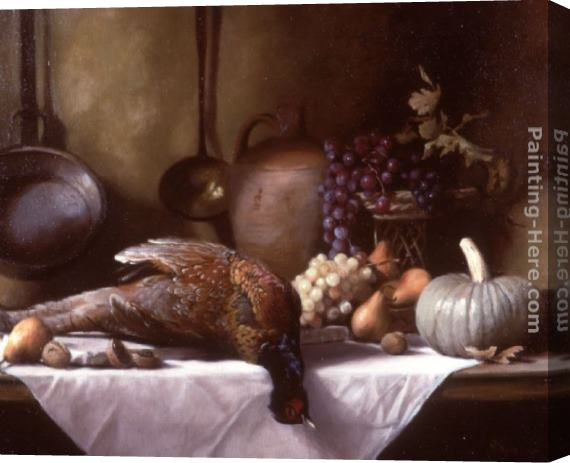 Maureen Hyde Still Life with Pheasant and a Basket of Fruit Stretched Canvas Painting
