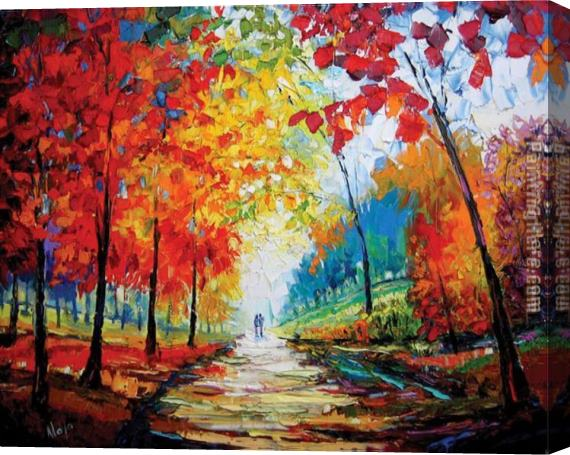 Maya Green Autumn Impressions Stretched Canvas Painting