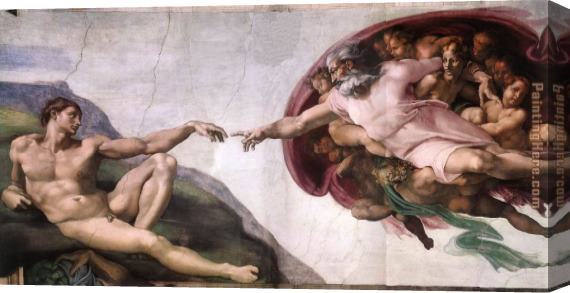Michelangelo Buonarroti The Creation of Adam Stretched Canvas Painting