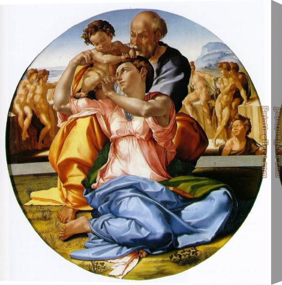 Michelangelo Buonarroti The Holy Family with the Infant John the Baptist Stretched Canvas Painting