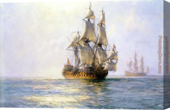 Montague Dawson The Royal Charles on Sunlit Waters Stretched Canvas Painting