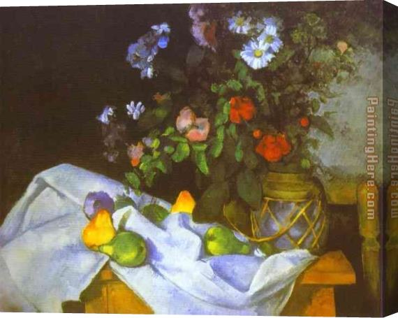 Paul Cezanne Still Life with Flowers and Fruit Stretched Canvas Painting