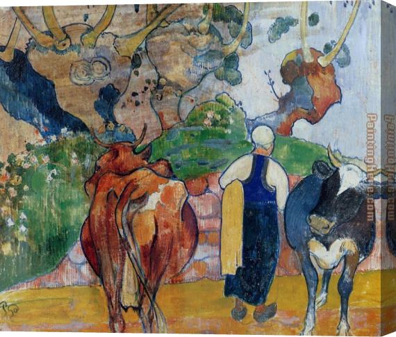 Paul Gauguin Peasant Woman and Cows in a Landscape Stretched Canvas Painting