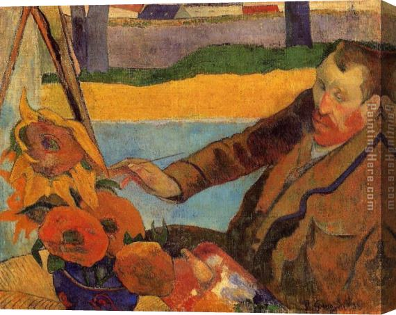 Paul Gauguin Portrait of Vincent van Gogh Painting Sunflowers Stretched Canvas Painting