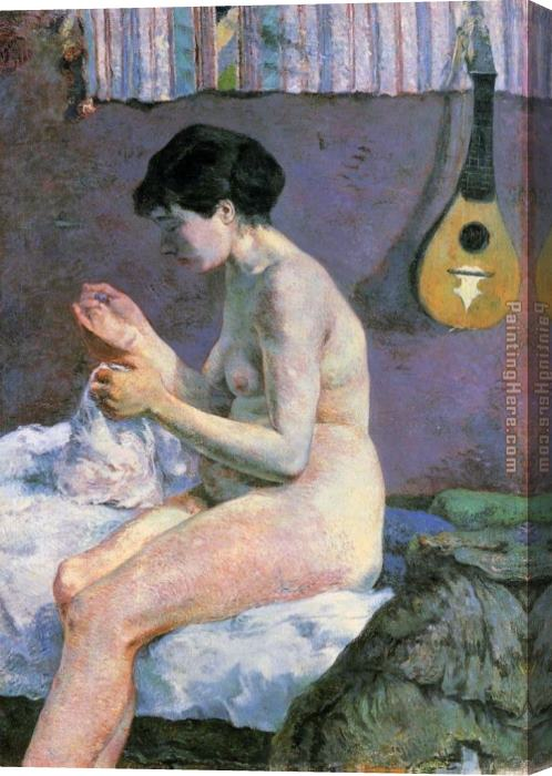 Paul Gauguin Study of a Nude Suzanne Sewing Stretched Canvas Painting