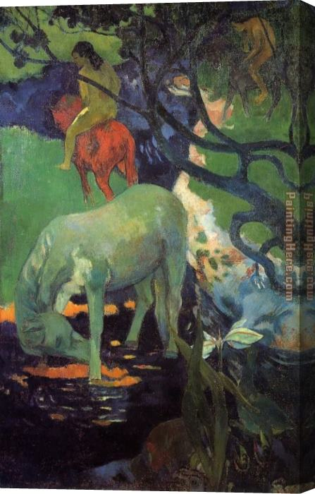 Paul Gauguin The White Horse Stretched Canvas Painting