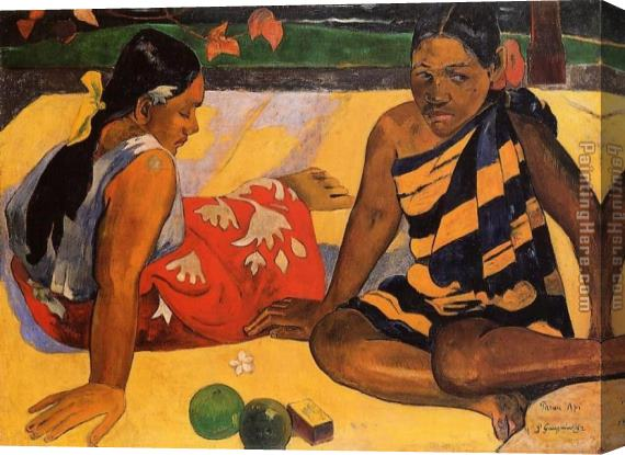 Paul Gauguin What News Stretched Canvas Painting