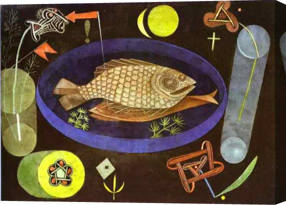 Paul Klee Around the Fish Stretched Canvas Painting