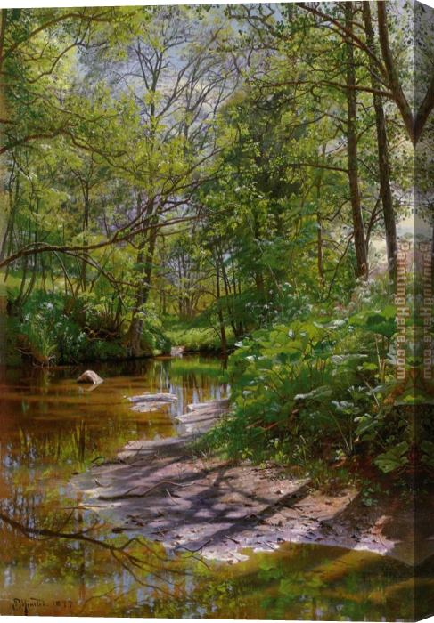 Peder Mork Monsted A River Landscape Stretched Canvas Painting