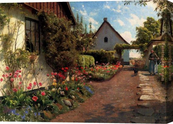 Peder Mork Monsted In The Garden Stretched Canvas Painting