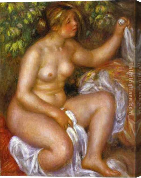 Pierre Auguste Renoir After The Bath Stretched Canvas Painting