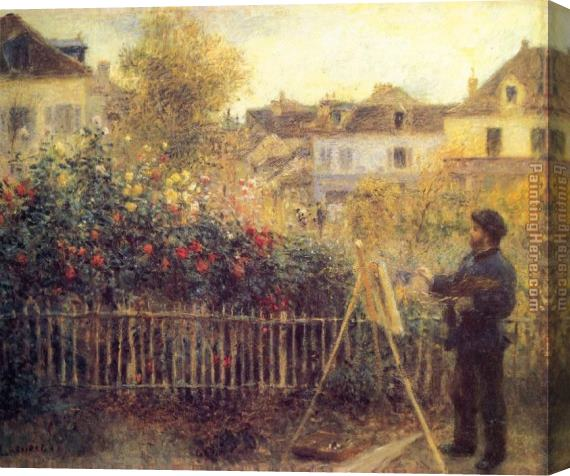 Pierre Auguste Renoir Claude Monet Painting in his Garden at Argenteuil Stretched Canvas Painting