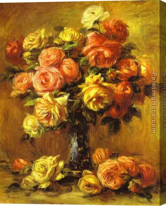 Pierre Auguste Renoir Roses in a Vase Stretched Canvas Painting