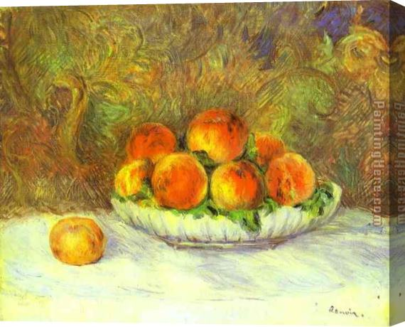 Pierre Auguste Renoir Still Life with Peaches Stretched Canvas Painting