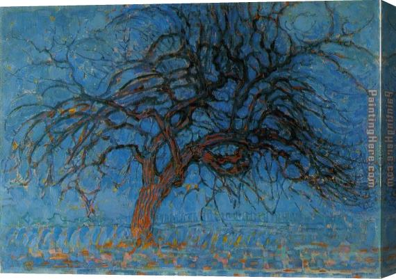 Piet Mondrian Avond Evening Red Tree Stretched Canvas Painting