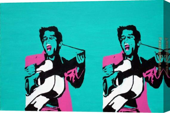 Pop art guitar player Stretched Canvas Painting
