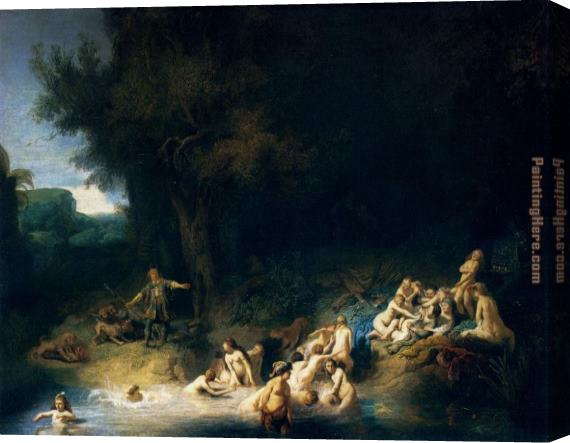 Rembrandt Diana Bathing with the Stories of Actaeon and Callisto Stretched Canvas Painting