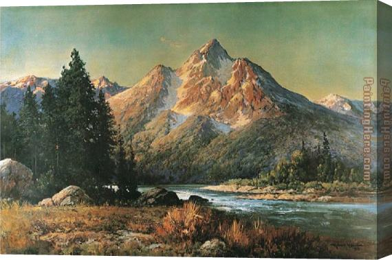 Robert Wood Evening in the Tetons Stretched Canvas Painting