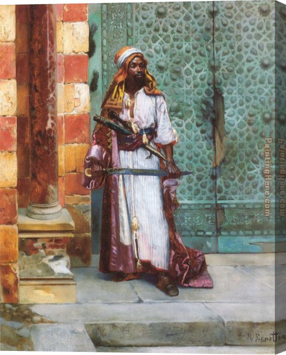 Rudolf Ernst Standing Guard Stretched Canvas Painting