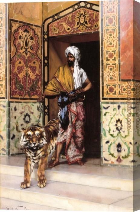 Rudolf Ernst The Pasha's Favourite Tiger Stretched Canvas Painting