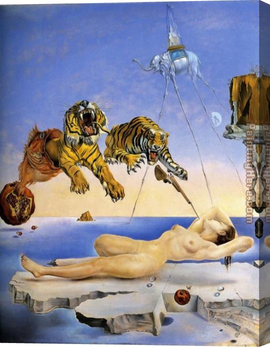 Salvador Dali Dream Caused by the Flight of a Bee around a Pomegranate Stretched Canvas Painting