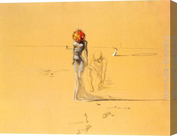 Salvador Dali Female Figure with Head of Flowers Stretched Canvas Painting