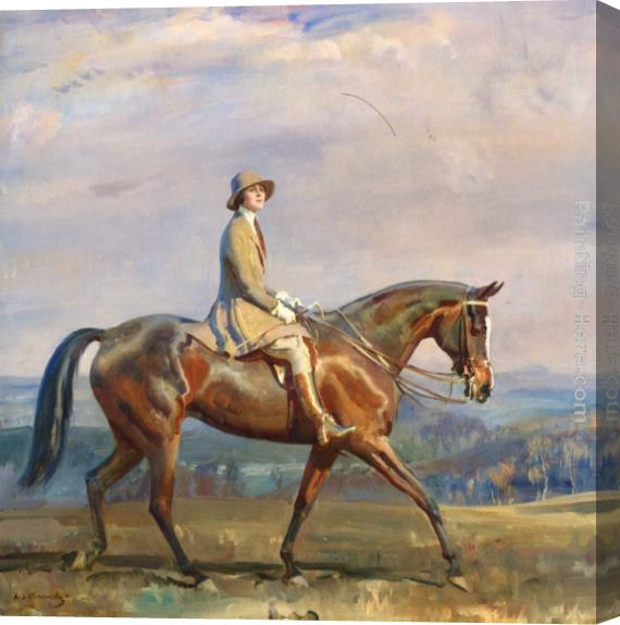 Sir Alfred James Munnings Portrait of Mrs Margaretta Park Frew Riding Stretched Canvas Painting
