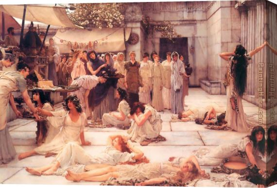 Sir Lawrence Alma-Tadema The Women of Amphissa Stretched Canvas Painting