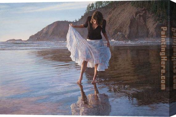 Steve Hanks Reflecting on Indian Beach Stretched Canvas Painting