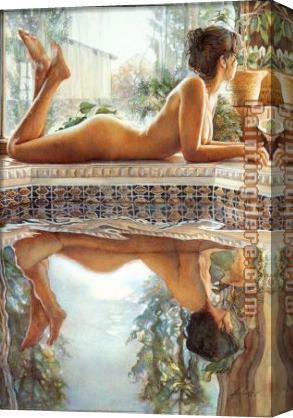 Steve Hanks Reflecting Stretched Canvas Painting