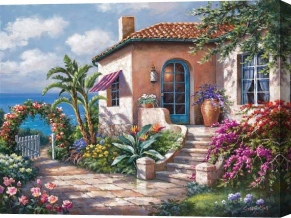 Sung Kim Coastal Cottage View Stretched Canvas Painting