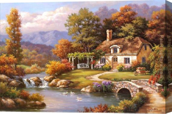 Sung Kim Cottage Stream Stretched Canvas Painting