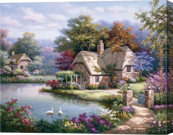 Sung Kim Swan Cottage I Stretched Canvas Painting