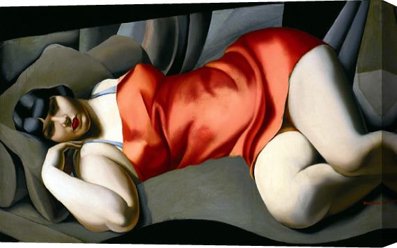 Tamara de Lempicka Woman in Red Stretched Canvas Painting