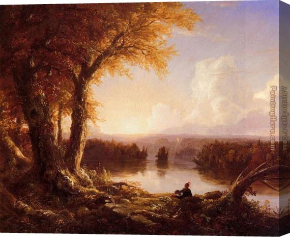Thomas Cole Indian at Sunset Stretched Canvas Painting