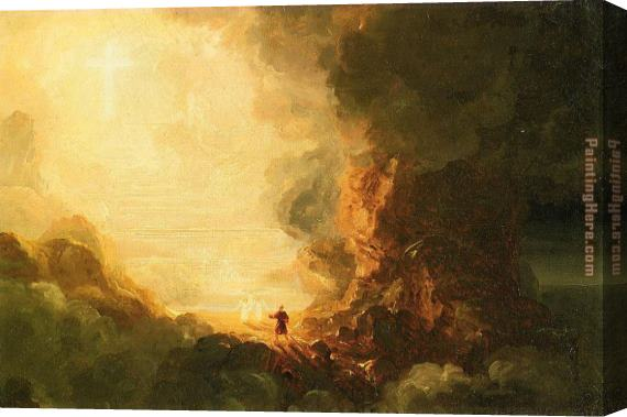 Thomas Cole The Pilgrim of the Cross at the End of His Journey Stretched Canvas Painting
