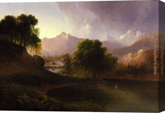 Thomas Doughty Landscape with Stream and Mountains Stretched Canvas Painting