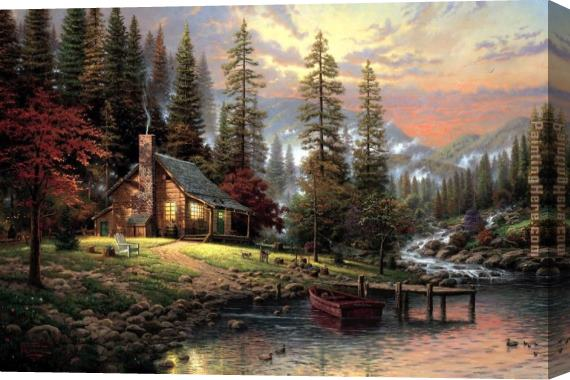Thomas Kinkade A Peaceful Retreat Stretched Canvas Painting