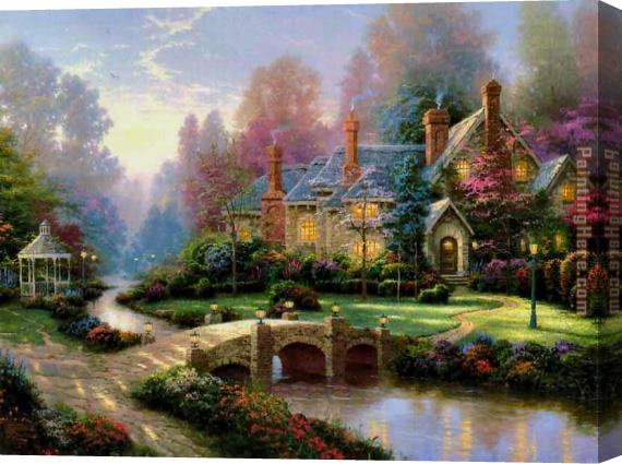 Thomas Kinkade Beyond Spring Gate Stretched Canvas Painting