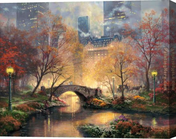 Thomas Kinkade Central Park in the Fall Stretched Canvas Painting
