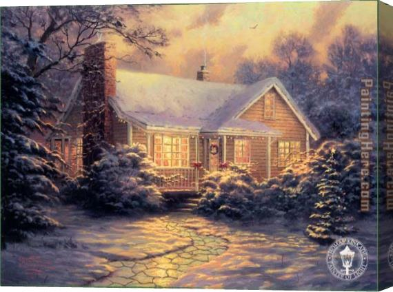 Thomas Kinkade Christmas Cottage Stretched Canvas Painting