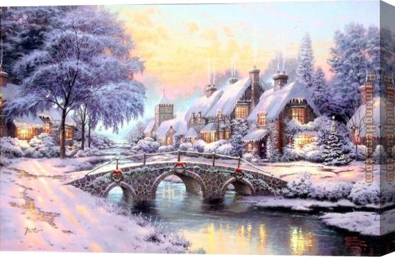 Thomas Kinkade Cobblestone Christmas Stretched Canvas Painting