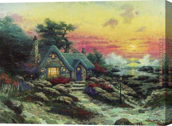 Thomas Kinkade cottage by the sea Stretched Canvas Painting