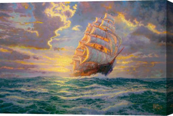 Thomas Kinkade Courageous Voyage Stretched Canvas Painting