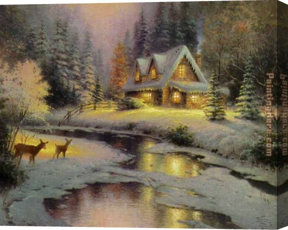 Thomas Kinkade deer creek cottage I Stretched Canvas Painting