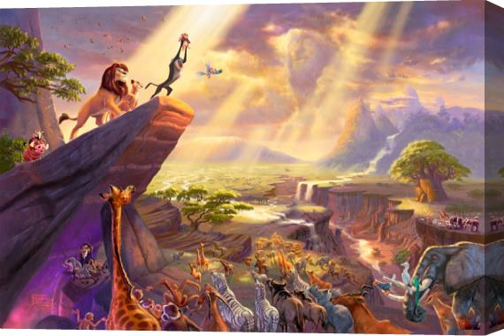 Thomas Kinkade Disney Dreams Collection VII The Lion King Stretched Canvas Painting