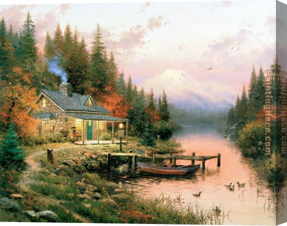 Thomas Kinkade End of a Perfect Day Stretched Canvas Painting