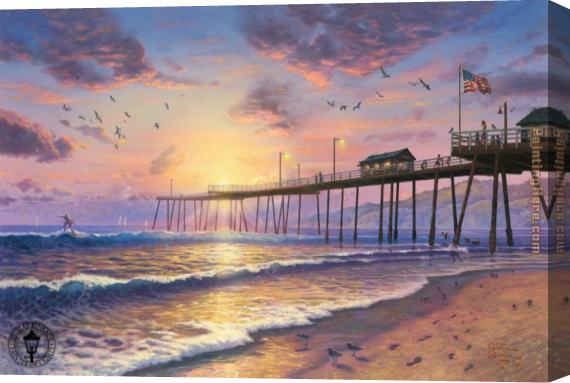 Thomas Kinkade Footprints in the sand Stretched Canvas Painting