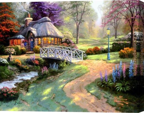 Thomas Kinkade Friendship Cottage Stretched Canvas Painting